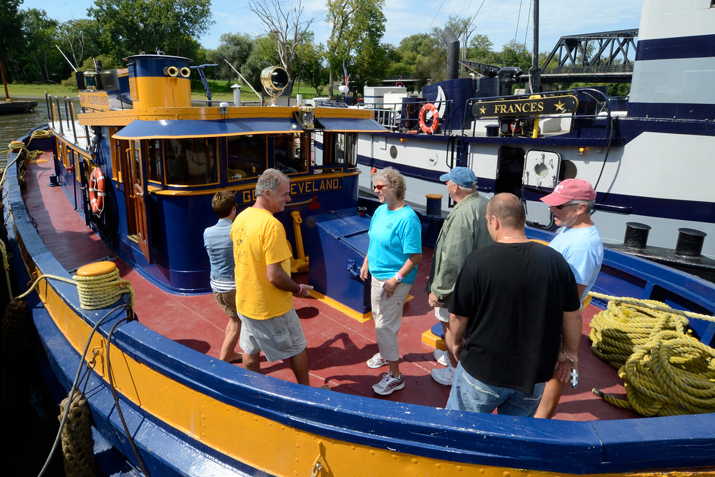 . People tour the Gov. Cleveland Canal Tug at Waterford\'s Tugboat Roundup .Saturday 09/07/13 (Mike McMahon/The Record)