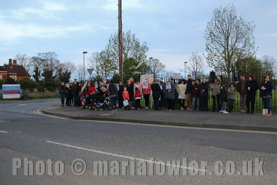 Twilight vigil protest outside the Harwich Fryatt Hospital against the temporary closure of the Harwich and Clacton maternity units and services.