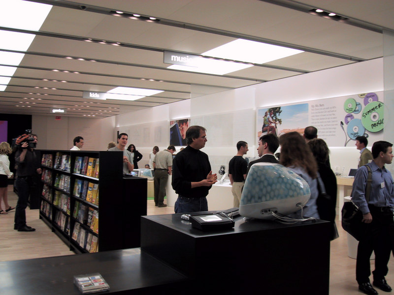 Apple's CEO explains the company's retail strategy before the opening of the first Apple Store, on May 15, 2001. The store opened to the public a few days later.