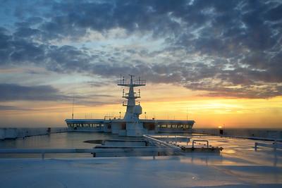 Sunset as 'Pride of Rotterdam' leaves Rotterdam on 6 June 2015