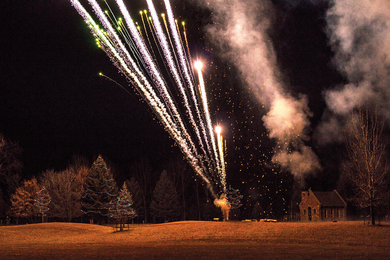 Matthew Gaston | The Sheridan Press<br>The fireworks provided by Bruce Burns lit up the night sky during the Ucross Community Christmas Celebration Saturday, Dec. 15. 2018.