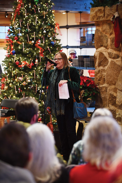 Matthew Gaston | The Sheridan Press<br>Ucross Foundation president Sharon Dynak kicked off the Ucross Community Christmas Celebration with a few words Saturday, Dec. 15, 2018.
