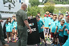 SWAT member  Mike Milligan shows UD Jr. Police Academy campers a shield.