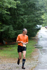 Jogging towards the finish.