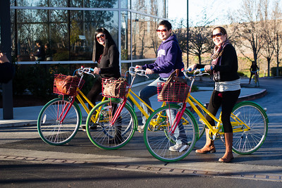 The gals with their Google bicycles.  Eventually, Security stopped by and told us that these was for employee use only.  We feigned ignorance and snickered when he left.  Totally Pinoy.  :-)