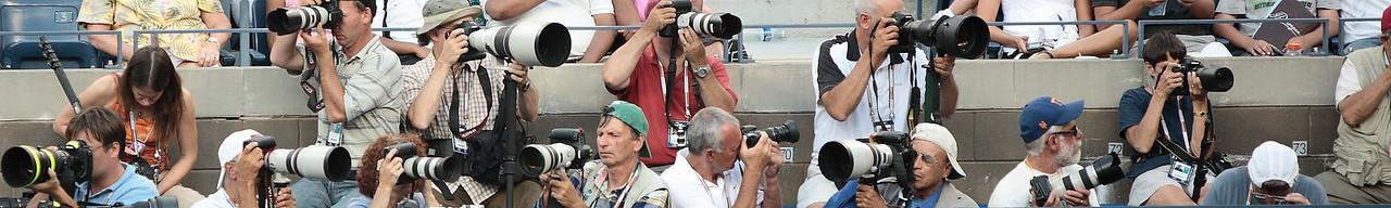Photographer Row, Center Court, 2008 US Open.