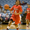 Dec 6, 2009; Chapel Hill, NC, USA; St. John's Red Storm guard Nadirah McKenith (5) carries the ball during the first half against the North Carolina Tar Heels at the Dean Smith Center.  The Tar Heels defeated the Red Storm 83-73.  Mandatory Credit: Brian Utesch-US PRESSWIRE