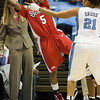 Dec 6, 2009; Chapel Hill, NC, USA; St. John's Red Storm guard Nadirah McKenith (5) grabs a loose ball while defended by North Carolina Tar Heels guard Krista Gross (21) during the first half at the Dean Smith Center.  The Tar Heels defeated the Red Storm 83-73.  Mandatory Credit: Brian Utesch-US PRESSWIRE