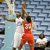 "Dec 6, 2009; Chapel Hill, NC, USA; North Carolina Tar Heels center Waltiea Rolle (32) blocks a shot by St. John's Red Storm forward Centhya ""Coco"" Hart (30) during the second half at the Dean Smith Center.  The Tar Heels defeated the Red Storm 83-73.  Mandatory Credit: Brian Utesch-US PRESSWIRE"