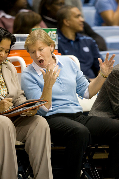 Dec 6, 2009; Chapel Hill, NC, USA; North Carolina Tar Heels coach Sylvia Hatchell on the bench during the first half against the St. John's Red Storm at the Dean Smith Center.  The Tar Heels defeated the Red Storm 83-73.  Mandatory Credit: Brian Utesch-US PRESSWIRE