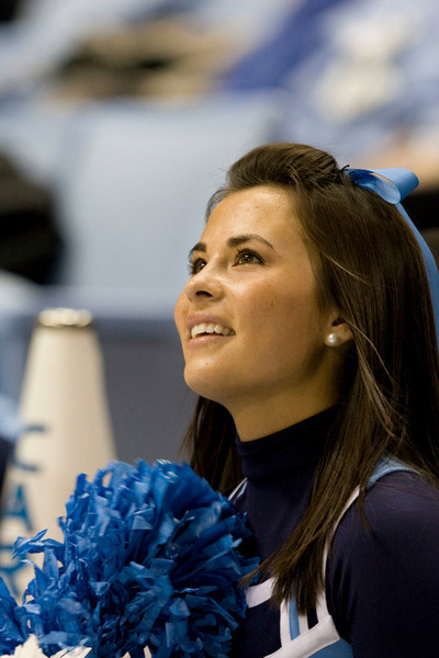 Dec 6, 2009; Chapel Hill, NC, USA; A North Carolina Tar Heels cheerleader during the first half against the St. John's Red Storm at the Dean Smith Center.  The Tar Heels defeated the Red Storm 83-73.  Mandatory Credit: Brian Utesch-US PRESSWIRE