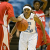 Dec 6, 2009; Chapel Hill, NC, USA; North Carolina Tar Heels guard Cetera DeGraffenreid (22) guards St. John's Red Storm guard Nadirah McKenith (5) during the second half at the Dean Smith Center.  The Tar Heels defeated the Red Storm 83-73.  Mandatory Credit: Brian Utesch-US PRESSWIRE