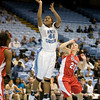 Dec 6, 2009; Chapel Hill, NC, USA; North Carolina Tar Heels guard Tierra Ruffin-Pratt (44) shoots while defended by St. John's guard Kelly McManmon (23) during the second half at the Dean Smith Center.  The Tar Heels defeated the Red Storm 83-73.  Mandatory Credit: Brian Utesch-US PRESSWIRE