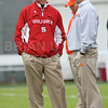Nov 14, 2009; Raleigh, NC, USA; North Carolina State Wolfpack coach Tom O'Brien and Clemson Tigers coach Dabo Swinney prior to the game at Carter-Finley Stadium.  Mandatory Credit: Brian Utesch-US PRESSWIRE