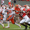Nov 14, 2009; Raleigh, NC, USA; Clemson Tigers running back C.J. Spiller (28) runs the ball against the North Carolina State Wolfpack during the first half at Carter-Finley Stadium.  Mandatory Credit: Brian Utesch-US PRESSWIRE