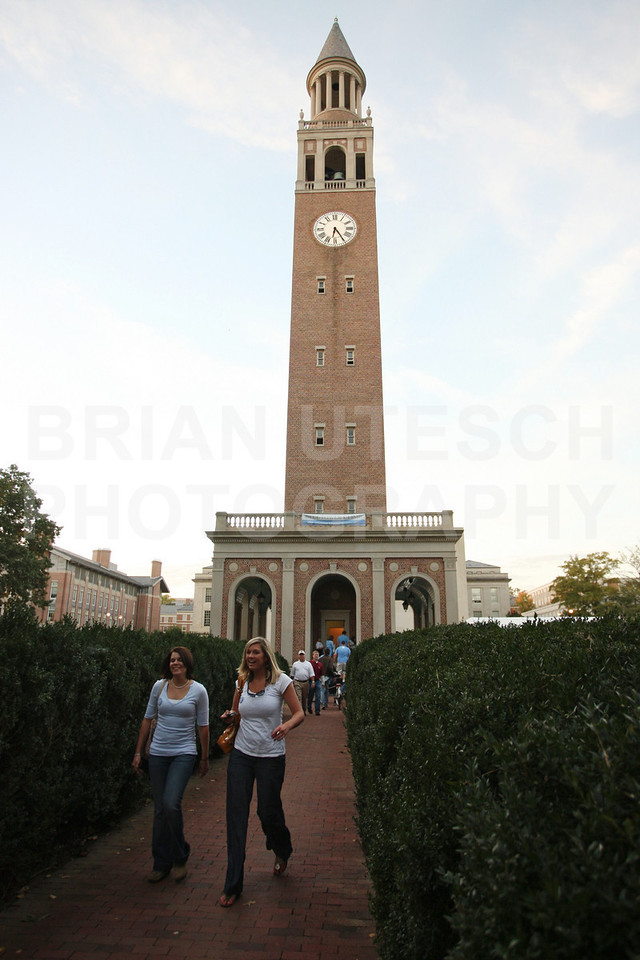 Oct 22, 2009; Chapel Hill, NC, USA; University of North Carolina Tar Heels fans pass the bell tower on the way to the game against the Florida State Seminoles at Kenan Memorial Stadium.  Mandatory Credit: Brian Utesch-US PRESSWIRE