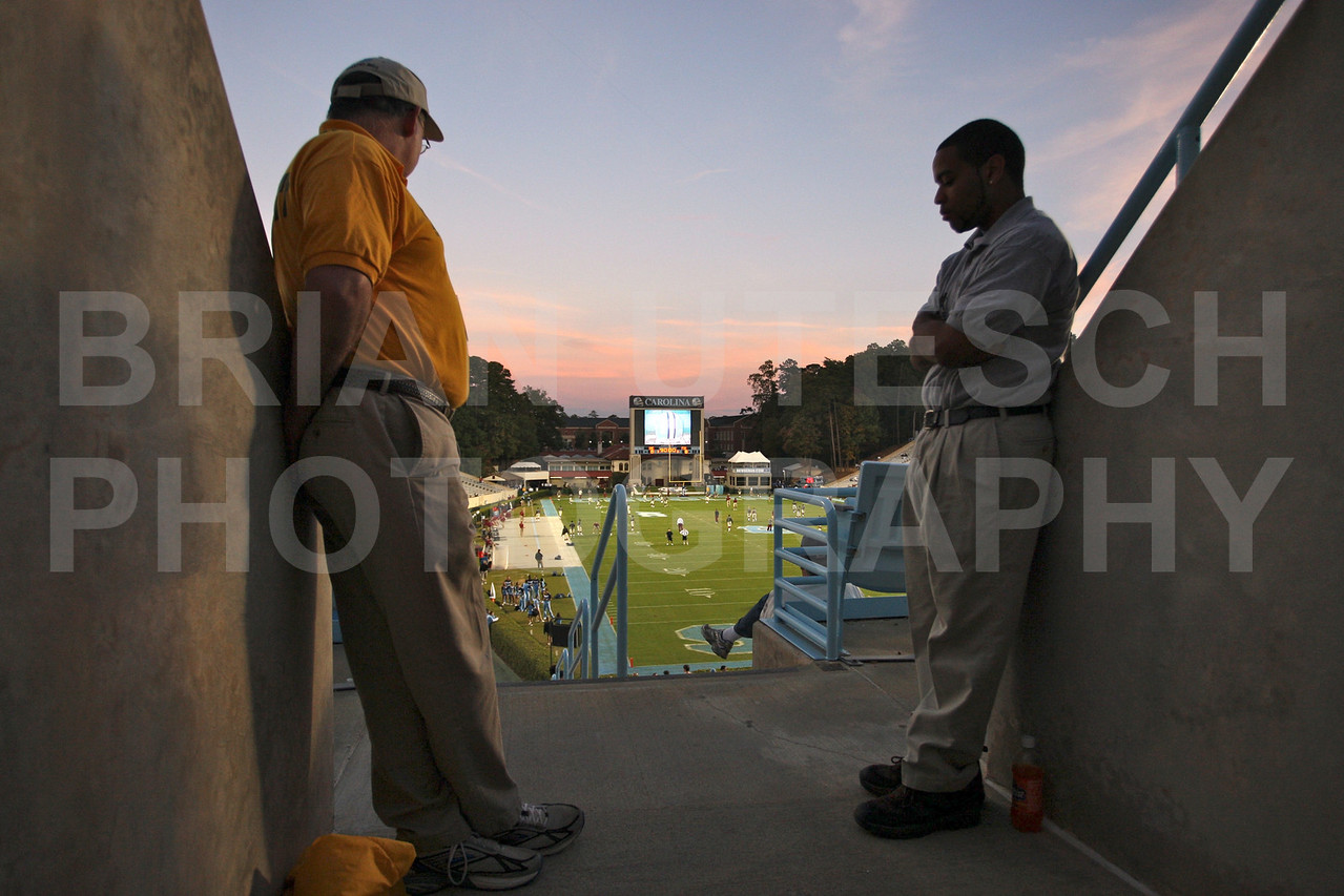 Oct 22, 2009; Chapel Hill, NC, USA; Overlooking the field for the University of North Carolina Tar Heels game against the Florida State Seminoles at Kenan Memorial Stadium.  Mandatory Credit: Brian Utesch-US PRESSWIRE