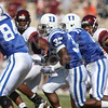 Oct 3, 2009; Durham, NC, USA; Duke Blue Devils wide receiver Johnny Williams (37) returns a kickoff against the Virginia Tech Hokies during the second half at Wallace Wade Stadium.  The Hokies defeated the Blue Devils 34-26. Mandatory Credit: Brian Utesch-US PRESSWIRE