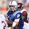 Oct 3, 2009; Durham, NC, USA; Duke Blue Devils wide receiver Conner Vernon (2) runs with the ball against the Virginia Tech Hokies during the second half at Wallace Wade Stadium.  The Hokies defeated the Blue Devils 34-26. Mandatory Credit: Brian Utesch-US PRESSWIRE
