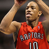 Dec 28, 2010; Dallas, TX, USA; Toronto Raptors guard DeMar DeRozan (10) attempts a free throw during the second half against the Dallas Mavericks at the American Airlines Center.  The Raptors defeated the Mavericks 84-76.  Mandatory Credit: Brian Utesch-US PRESSWIRE
