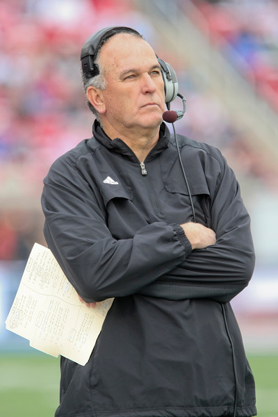 Dec 30, 2010; Dallas, TX, USA; SMU Mustangs head coach June Jones during the first half against the Army Black Knights in the 2010 Armed Forces Bowl at Gerald J. Ford Stadium.  The Black Knights defeated the Mustangs 16-14.  Mandatory Credit: Brian Utesch-US PRESSWIRE