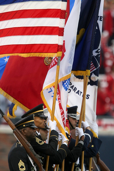 Dec 30, 2010; Dallas, TX, USA; The color guard prior to the game between the SMU Mustangs and Army Black Knights in the 2010 Armed Forces Bowl at Gerald J. Ford Stadium.  Mandatory Credit: Brian Utesch-US PRESSWIRE