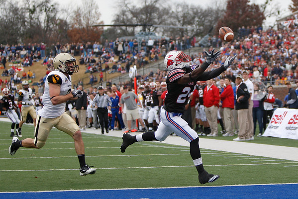 Dec 30, 2010; Dallas, TX, USA; SMU Mustangs Aldrick Robinson (24) fails to catch a touchdown pass against the Army Black Knights during the first half of the 2010 Armed Forces Bowl at Gerald J. Ford Stadium.  Mandatory Credit: Brian Utesch-US PRESSWIRE