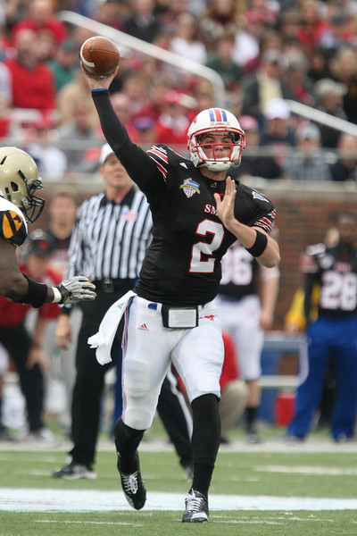 Dec 30, 2010; Dallas, TX, USA; SMU Mustangs quarterback Kyle Padron (2) throws a pass against the Army Black Knights during the first half of the 2010 Armed Forces Bowl at Gerald J. Ford Stadium.  The Black Knights defeated the Mustangs 16-14.  Mandatory Credit: Brian Utesch-US PRESSWIRE