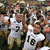 Dec 30, 2010; Dallas, TX, USA; Army Black Knights players celebrate after the game against the SMU Mustangs in the 2010 Armed Forces Bowl at Gerald J. Ford Stadium.  The Black Knights defeated the Mustangs 16-14.  Mandatory Credit: Brian Utesch-US PRESSWIRE