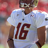 Oct 9, 2010; Raleigh, NC, USA; Boston College Eagles quarterback Mike Marscovetra (16) prior to the game against the North Carolina State Wolfpack at Carter-Finley Stadium.  Mandatory Credit: Brian Utesch-US PRESSWIRE