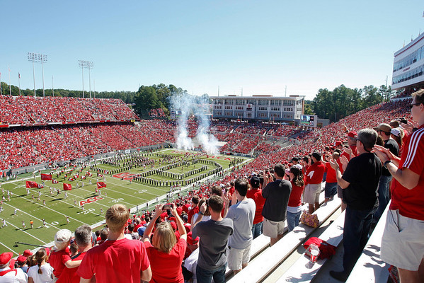 Oct 9, 2010; Raleigh, NC, USA; The North Carolina State Wolfpack enter the field prior to the game against the Boston College Eagles at Carter-Finley Stadium.  Mandatory Credit: Brian Utesch-US PRESSWIRE