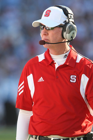Nov 20, 2010; Chapel Hill, NC, USA; North Carolina State Wolfpack head coach Tom O'Brien during the second half against the North Carolina Tar Heels at Kenan Stadium.  The Wolfpack defeated the Tar Heels 29-25.  Mandatory Credit: Brian Utesch-US PRESSWIRE