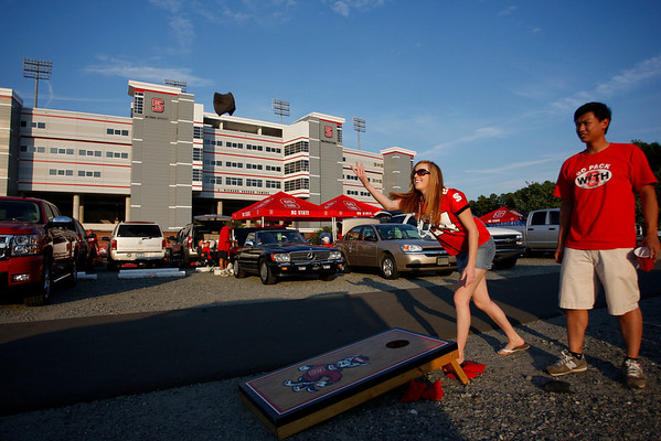 Sep 16, 2010; Raleigh, NC, USA; Fans tailgate prior to the game between the Cincinnati Bearcats and the North Carolina State Wolfpack at Carter-Finley Stadium.  Mandatory Credit: Brian Utesch-US PRESSWIRE
