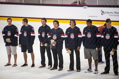 August 27, 2013.  USA Olympics Mens Hockey introductions, Kettler Ice Plex, Arlington, VA.  Copyright © 2013 Jamie Kellner. All rights reserved.