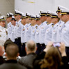 Record-Eagle/Jan-Michael Stump<br /> Cmdr Joseph Buzzella, Jr., left, and Cmdr Jonathan Spaner inspect the troops as part of U.S. Coast Guard Air Station Traverse City's Change of Command ceremony Friday.