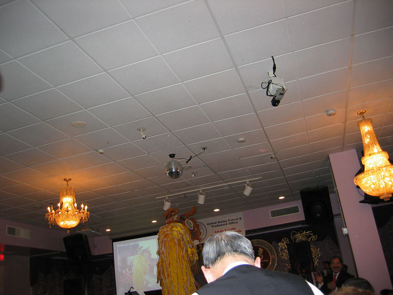 The Lion takes the offerings hanging from the ceiling.