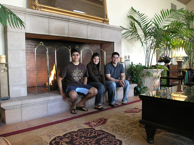 Eddy Sanchez, Briana Juhlin and Jussle Del Rosario in the hotel lobby waiting to go to dinner.