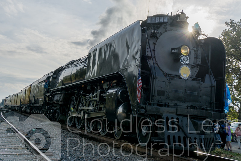 Union Pacific 844 at its first Oklahoma stop of the day