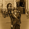 Suffragette in front of Marble Arch
