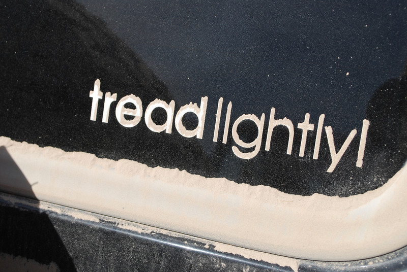 dust so fine, it piled on the edges of this sticker's letters!