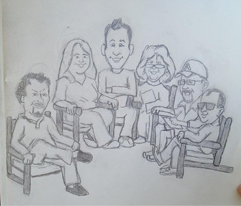 "Sketch courtesy of Kevin ""Learn Nuggets"" Thorn. Left to right, that's me, Julie Dirksen, Elliot Felix, Kay Wood, Brent Schlenker and Jason Willensky. We were ideating down by the creek."