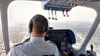 The pilot's view from the Eureka cabin.
