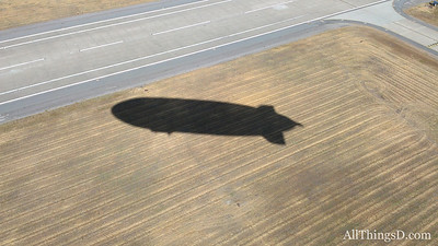 The shadow of the Eureka just after takeoff from Moffett Field.
