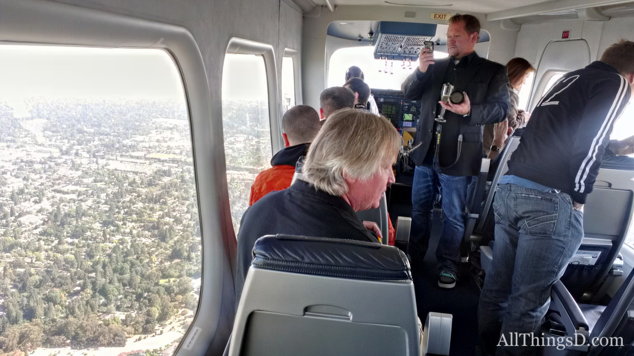There was lots of picture-taking and a bit of champagne-drinking as the Eureka flew over Silicon Valley.