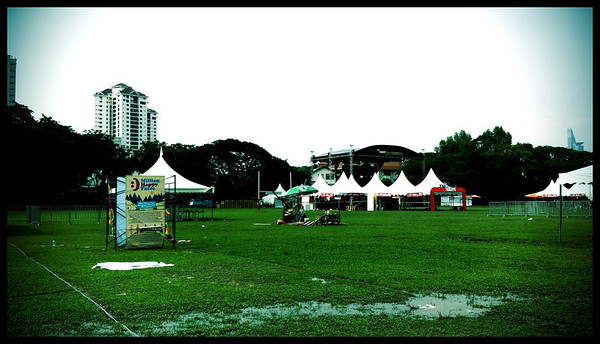 The sight on the day before the event, with the soggy ground. Luckily the the sunshine lifted that all up.