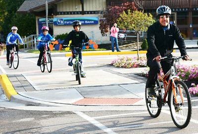 Debbie Blank | The Herald-Tribune A family of four participates in the last event of Vélo in the Ville: Get Psyched About Bikes, a four-day wellness celebration Oct. 8-11. The initiative was sponsored by the city of Batesville, Batesville Main Street, St. Andrews Health Campus and Margaret Mary Health.