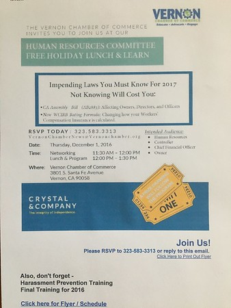 VERNON CHAMBER OF COMMERCE NETWORKING LUNCH - 12.01.16