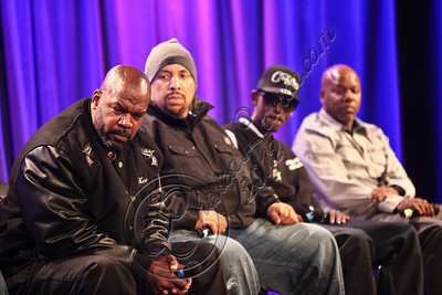 "LOS ANGELES, CA - APRIL 26:  (L-R) Henry Watson, Matthew McDaniel, rapper Kurupt and rapper Too Short attend the ""Uprising"" screening and panel discussion at at The GRAMMY Museum on April 26, 2012 in Los Angeles, California.  (Photo by Chelsea Lauren/WireImage)"