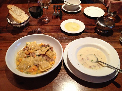 Butternut squash ravioli and potato sausage soup at Biaggi's Italian restaurant in Deerfield, Illinois..