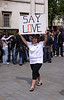 Girl with Say Love placard at Vaisakhi Sikh New Year Festival London 2009